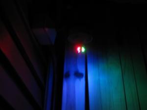 Groovy multi-colored LED light on deck.