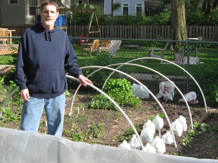 You can see approximately how high this hoop hut is going to be by the handsome model standing nearby. Also notice the spacing of the PVC and that it covers two rows.