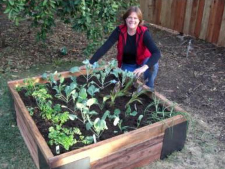 Aerial shot of Jill kneeling by a 4 by 4 raised bed using M Braces. Bed is planted with vegetables.