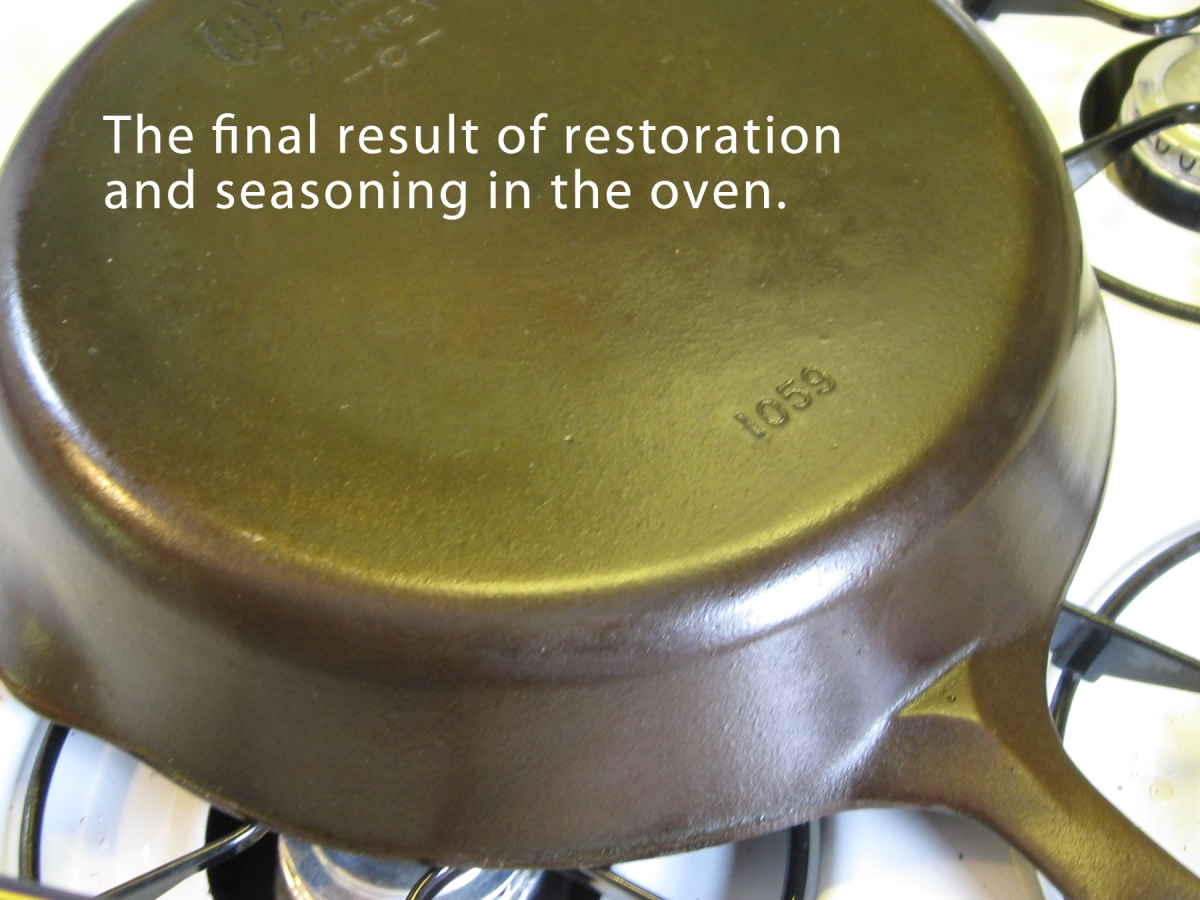 how to restore an old and grody cast iron skillet snarkyvegan. Black Bedroom Furniture Sets. Home Design Ideas