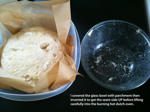 flipping dough onto parchment