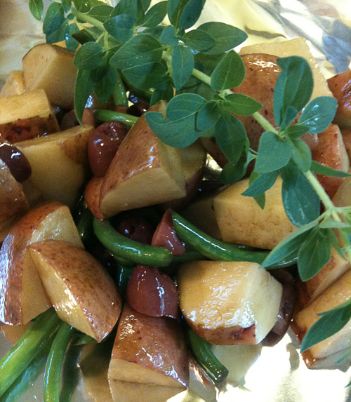 Sicilian potato salad before grilling, just getting ready to wrap in foil.