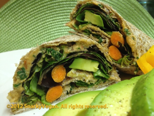 50 shades of kale, smokey hummus wrap with veggies