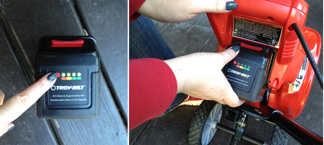 Check the battery's charge and insert into the cultivator until it clicks into place.